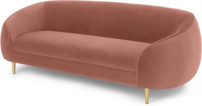 An Image of Trudy 3 Seater Sofa, Blush Pink Velvet