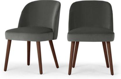 An Image of Set of 2 Swinton Dining Chairs, Steel Grey Velvet & Dark Stain