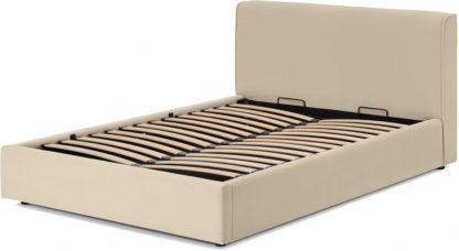 An Image of Bahra King Size Bed with Ottoman Storage, Stone Micro Corduroy Velvet