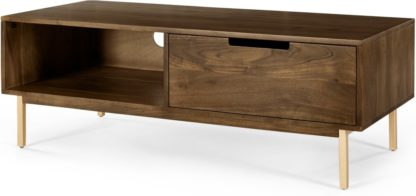 An Image of Tayma TV Stand, Acacia Wood & Brass