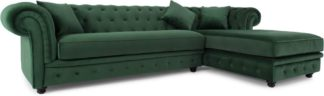 An Image of Branagh Right Hand Facing Chaise End Corner Sofa, Pine Green Velvet