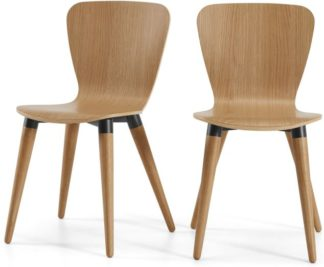 An Image of Set of 2 Edelweiss Dining Chairs, Oak and Black