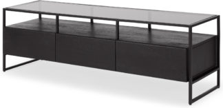 An Image of Kilby Wide TV Stand, Black Stained Mango Wood and Smoked Glass