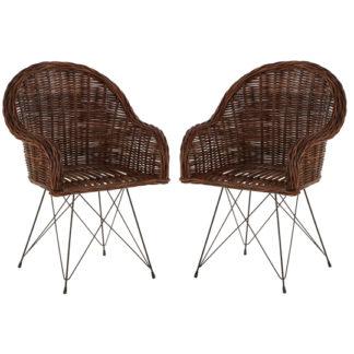 An Image of Hunor Natural Croco Rattan Chair In Pair