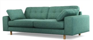 An Image of Content by Terence Conran Tobias, 3 Seater Sofa, Textured Weave Teal, Light Wood Leg