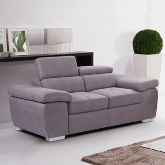 An Image of Amando Fabric 2 Seater Sofa In Mushroom