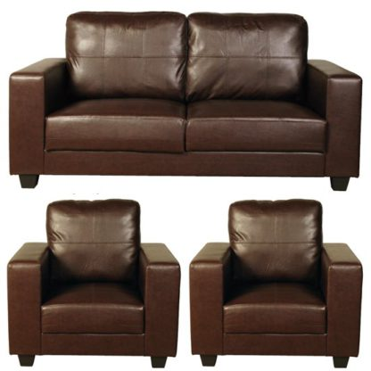 An Image of Okul Faux Leather 3 Seater Sofa And 2 Armchairs Suite In Brown