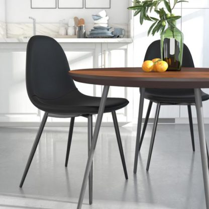 An Image of Calvin Black Faux Leather Dining Chairs In Pair