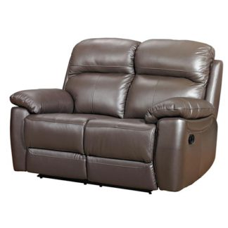 An Image of Aston Leather 2 Seater Recliner Sofa In Brown