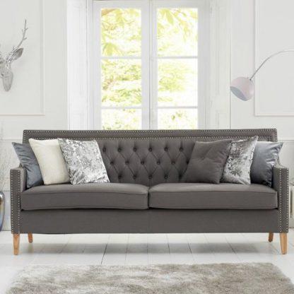 An Image of Bellard Fabric 3 Seater Sofa In Grey And Natural Ash Legs