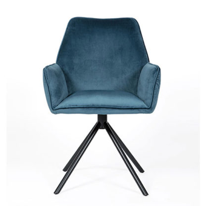 An Image of Uno Velvet Fabric Dining Chair In Blue
