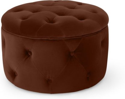 An Image of Hampton Small Round Storage Pouffe, Warm Caramel Velvet