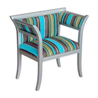 An Image of Striped Multicolour Courtiers Chair With Wooden Frame