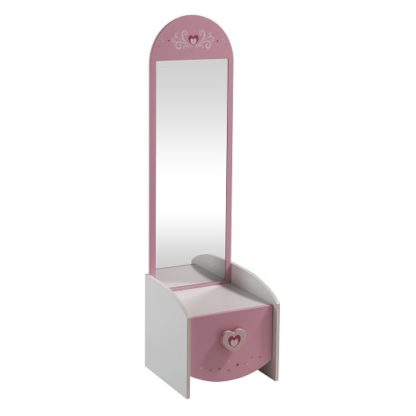 An Image of Betsy Dressing Table With Mirror In Pearl White And Pink