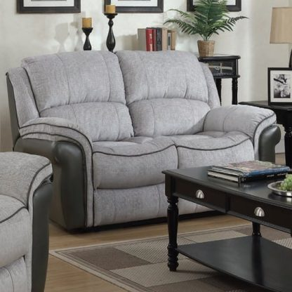 An Image of Lerna Fusion Fabric 2 Seater Sofa In Grey