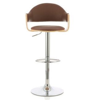 An Image of Emden Bar Stool In Oak And Beige PU With Chrome Base