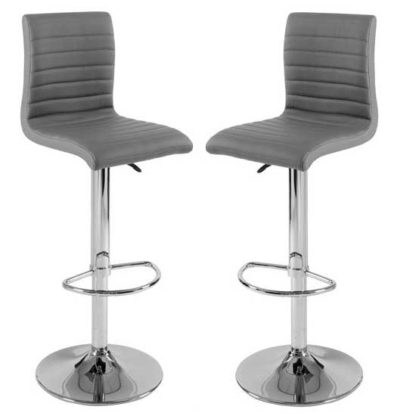 An Image of Ripple Bar Stools In Charcoal Grey Faux Leather in A Pair