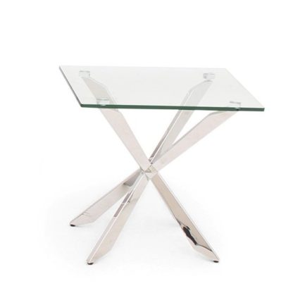 An Image of Lyon Glass Side Table In Clear With Stainless Steel Base