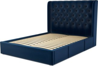 An Image of Custom MADE Romare King size Bed with Drawers, Regal Blue Velvet