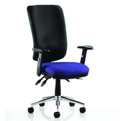 An Image of Chiro High Black Back Office Chair In Stevia Blue With Arms