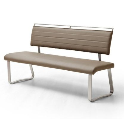 An Image of Scala Dining Bench In Cappuccino PU And Brushed Stainless Steel