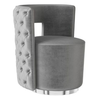 An Image of Tamara Velvet Fabric Swivel Lounge Chair In Silver Grey
