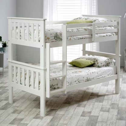 An Image of Katie Wooden Bunk Bed In White Pine