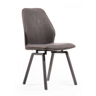 An Image of Sergio Dining Chair In Dark Grey Faux Leather With Metal Legs