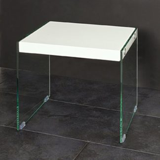 An Image of Olymp Gloss Top Side Table With Glass Legs