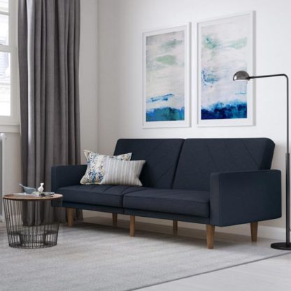 An Image of Paxson Linen Sofa Bed In Navy Blue With Wooden Feets