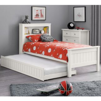An Image of Maine Double Bed And Guest Bed In Surf White With Bookcase