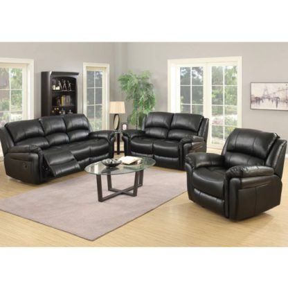 An Image of Lerna Leather 3 Seater Sofa And 2 Armchairs Suite In Black
