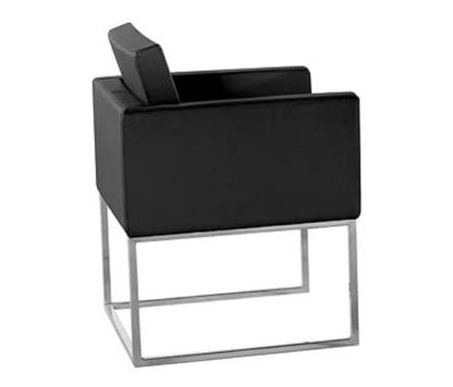 An Image of Aqua Black Pvc Chair With Steel Legs