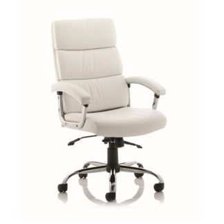 An Image of Tillie Bonded Leather Executive Chair In White With Chrome Base