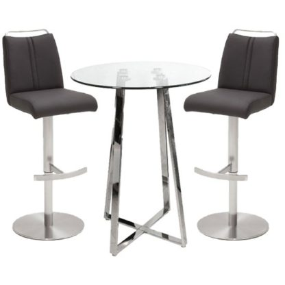 An Image of Poseur Glass Round Bar Table With 2 Giulia Anthracite Bar Stools