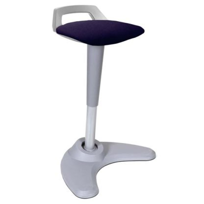 An Image of Spry Fabric Office Stool In Grey Frame And Tansy Purple Seat