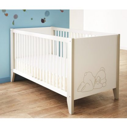 An Image of Orsang Wooden Childrens Bed In White With Bars