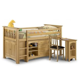 An Image of Elanor Wooden Sleep Station In Solid Pine With Left Hand Ladder