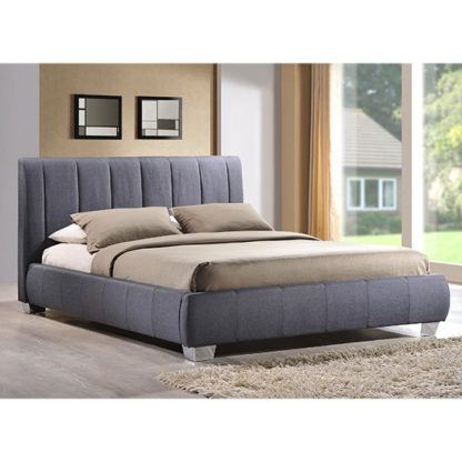 An Image of Braunston Fabric Upholstered King Size Bed In Grey