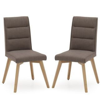 An Image of Divine Fabric Dining Chair In Grey With Oak Legs In A Pair