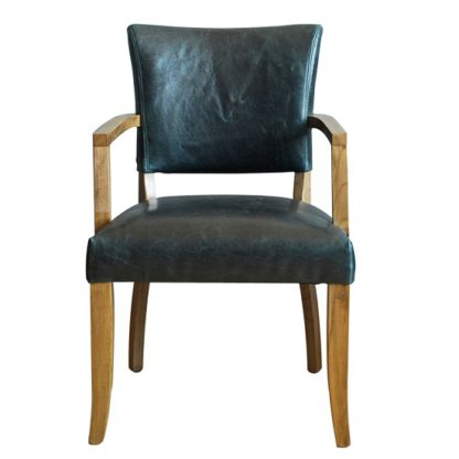 An Image of Epping PU Leather Arm Chair In Ink Blue With Wooden Frame
