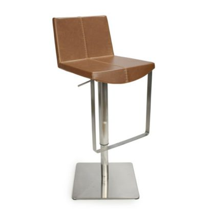 An Image of Skypod Bar Stool In Urban Tan With Brushed Steel Base