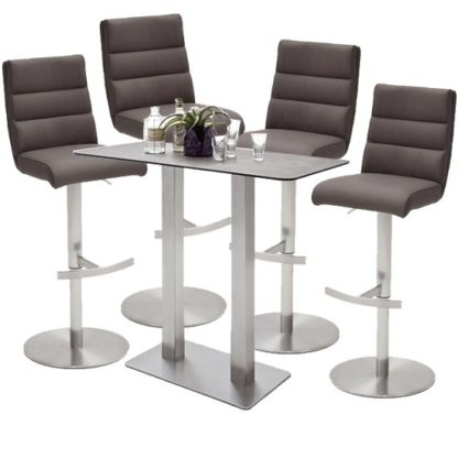 An Image of Soho Glass Bar Table With 4 Hiulia Brown Leather Stools