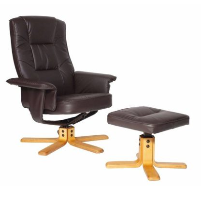 An Image of Canzone Recliner Chair In Brown Faux Leather With Footstool