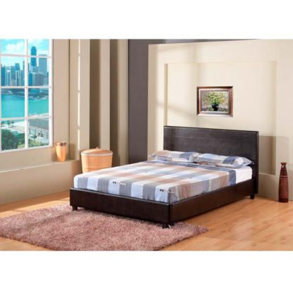 An Image of Lisa Black Faux Leather Double Bed