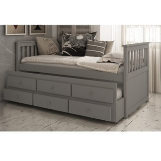 An Image of Ryegate Wooden Pull Out Trundle Day Bed In Grey Finish