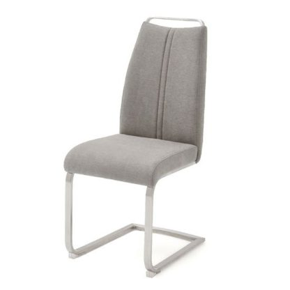 An Image of Giulia Fabric Cantilever Dining Chair In Ice Grey