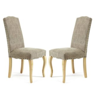 An Image of Madeline Dining Chair In Bark Fabric And Oak Legs in A Pair