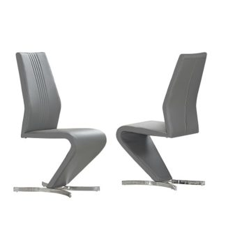 An Image of Gia Dining Chairs In Grey Faux Leather In A Pair