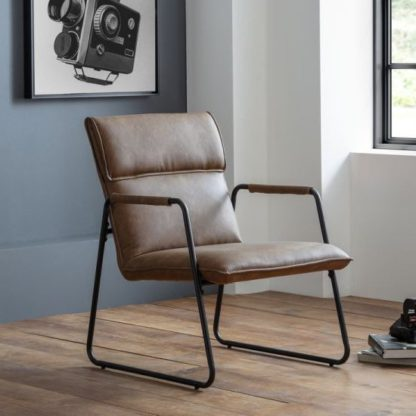 An Image of Gramercy Faux Leather Bedroom Chair In Brown